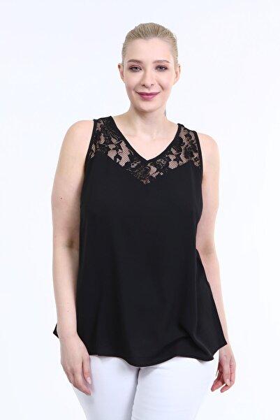 MYLİNE Kadın Siyah Dantel Detaylı Kolsuz Bluz