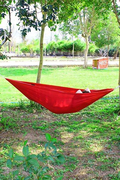 Bundera Kırmızı Kamp Hamağı Piknik Hamağı Bahçe Balkon Outdoor Kamp Salıncak Hamak