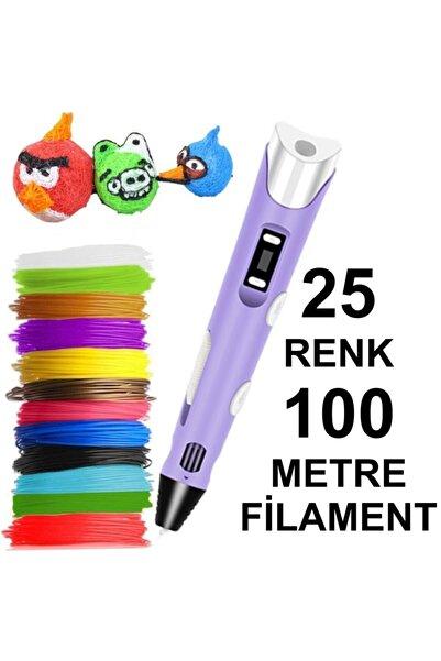 3D Mor Kalem Yazıcı+25 Renk 100 Metre (25x4metre) Pla Filament