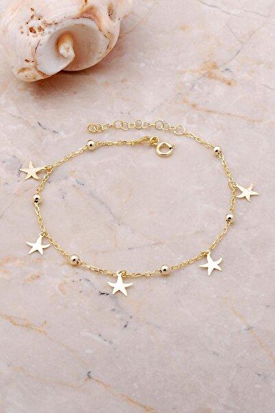 Sümer Telkari Yıldız Sallantılı Toplu Altın Yaldızlı Gümüş Bileklik 3650