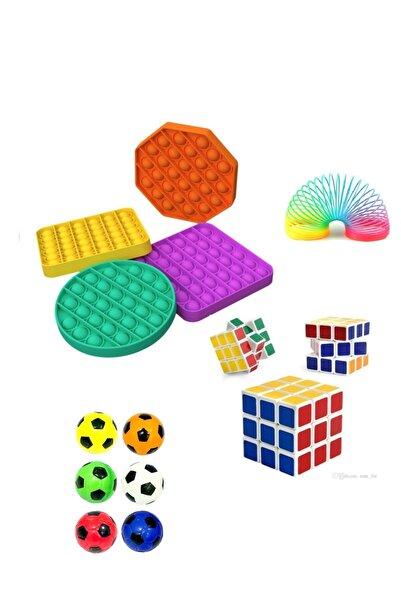 CAN OYUNCAK Stres Giderici Set 1 Popit 1 Rubik Küp 1 Stres Yayı 1 Stres Topu