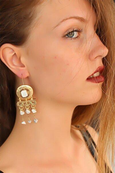 Moco Kadın Gold Renk Otantik Ta��lı  Sallantı Küpe