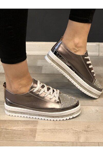 VALERIA Kadın Bronz Taşlı Sneaker
