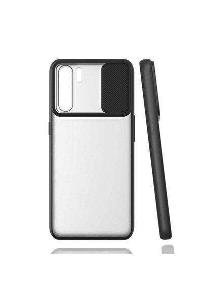 Oppo Reno 3 Uyumlu Kaydırmalı Kamera Korumalı Pastel Renkler Siyah
