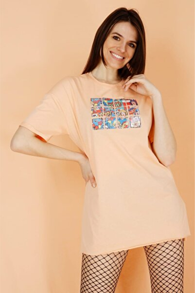 Masorte Dijital Baskılı Melon T-shirt 100% Pamuk