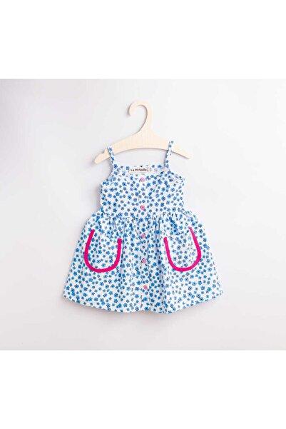 Le Mabelle Kız Çocuk Mavi Çiçekli Elbise  Sandra