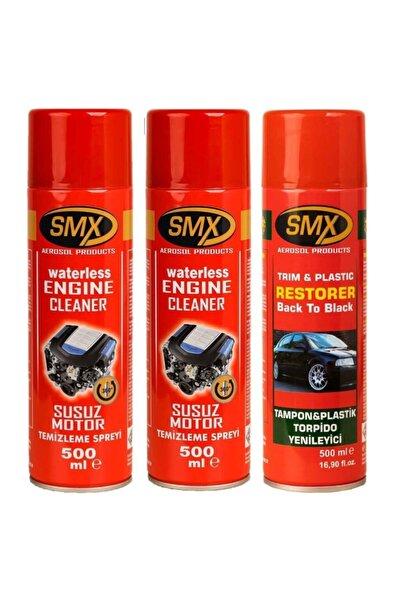 SMX 2 Adet Susuz Motor Temizleme - 1 Adet Tampon Torpido Plastik Yenileyici Sprey