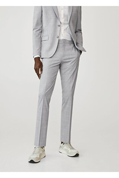 MANGO Man Erkek Gri Süper Dar Kesim Kareli Tailored Pantolon