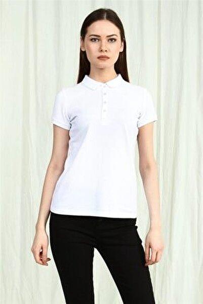 Kadın  Beyaz Polo Yaka Kısa Kollu Basic Tshirt