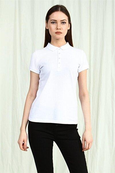 YÜCEL TİCARET Kadın  Beyaz Polo Yaka Kısa Kollu Basic Tshirt