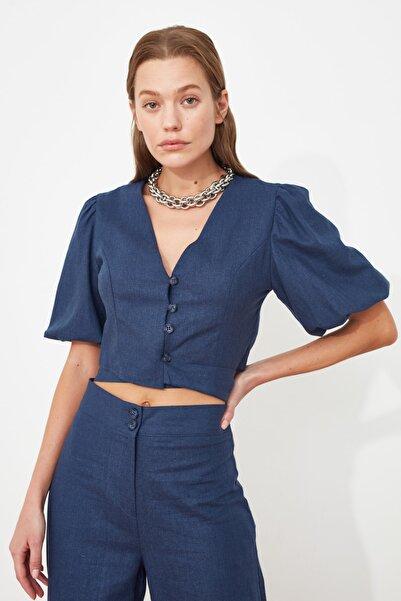 TRENDYOLMİLLA Mavi Kuşaklı Bluz TWOSS21BZ1261