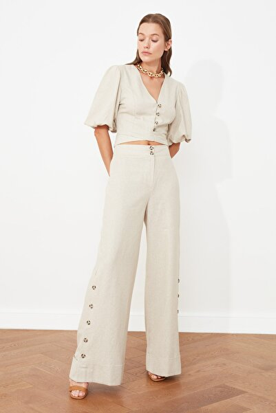 TRENDYOLMİLLA Taş Wide Leg Düğme Detaylı Pantolon TWOSS21PL0429