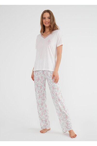 SUWEN Kadın Pembe Desenli Pijama Takımı