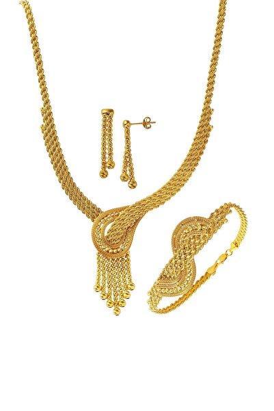 Bilezikci Dorika Toplu Örgü Zincir Altın Takı Seti