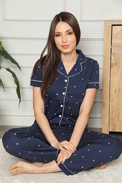 ALİMER Kadın Lacivert Yıldızlı Önden Düğmeli Pijama Takımı 2576ky
