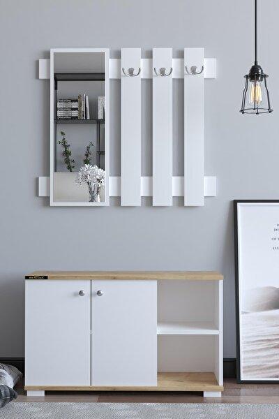 Remaks Plus Aynalı Vestiyer Ayakkabılık Portmanto Ve Duvar Askısı - Meşe / Beyaz