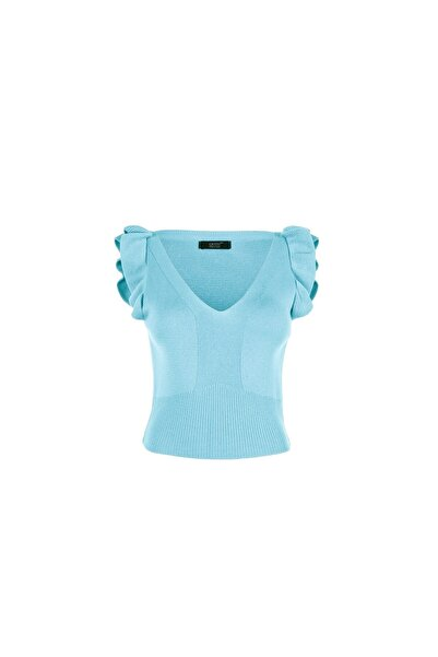 Quzu Kadın Bebe Mavi Kolları Fırfırlı V Yaka Triko Bluz