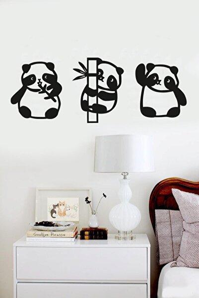 RetroLazer Panda 3lü Duvar Dekoru Siyah Ahşap Lazer Tablo Mdf