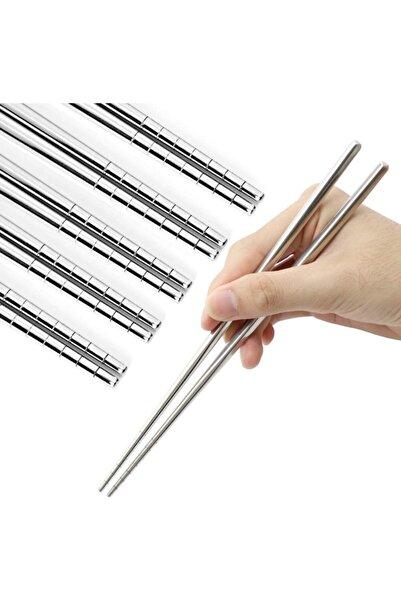muustie Paslanmaz Çelik Metal 5 Takım Chopstick 22,5cm