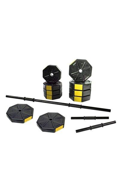 TAN SPOR 50 Kg (150 CM) Düz Bar Z Bar Dambıl-dumbell-ağırlık-halter–full Set Sarı Kapaklı