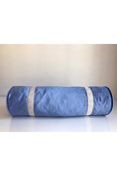 Kırlent dünyası Mavi Özel Tasarım 18x50cm Döşemelik Kadife Silindir Yastık Kılıfı