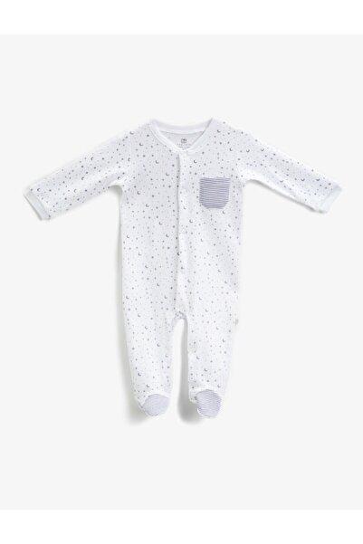 Koton Erkek Bebek Beyaz Baskili Çitçit Detayli Tulum