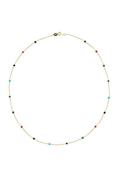 Glorria Kadın Altın Renkli Taşlı Sıra Kolye DM0035