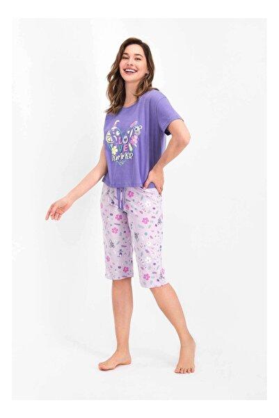 ROLY POLY Kadın Mor Love Summer Kapri Pijama Takımı Rp2477-s