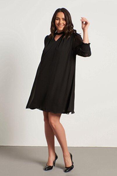 MYLİNE Yaka Detaylı Gipeli Şifon Elbise