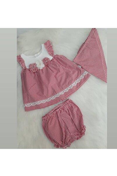 Bebetto Kz Bebek Kırmızı Pötikare Dokuma Elbise 3'lü Takım