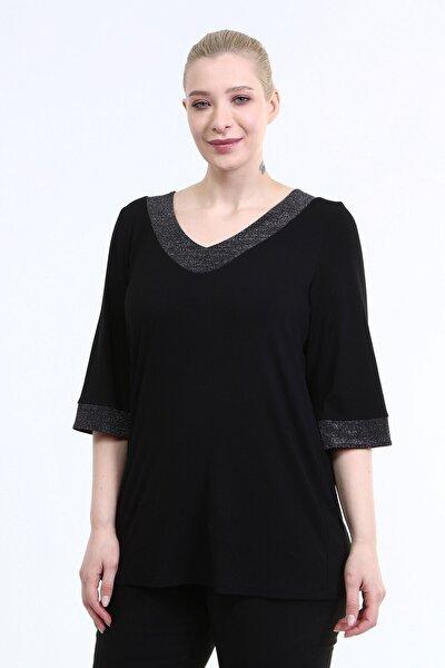 MYLİNE Kadın Siyah Yaka ve Kol Ucu Simli Penye Bluz