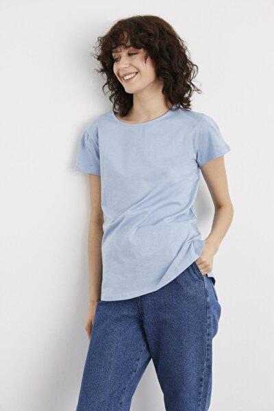 adL Kadın Mavi Kısa Kollu Tişört