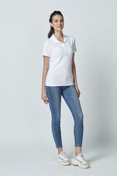 Letoile Pamuklu Polo Yaka T-shirt Beyaz