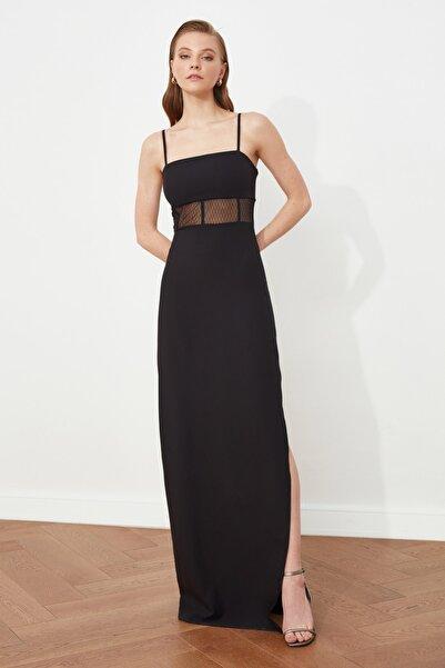 TRENDYOLMİLLA Siyah Tül Detaylı Abiye & Mezuniyet Elbisesi TPRSS21AE0014