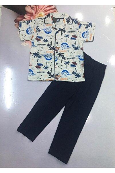 Tarık Erkek Çocuk Boydan Düğmeli Cepli Kısa Kol Gecelik Pijama Takımı 5-11 Yaş