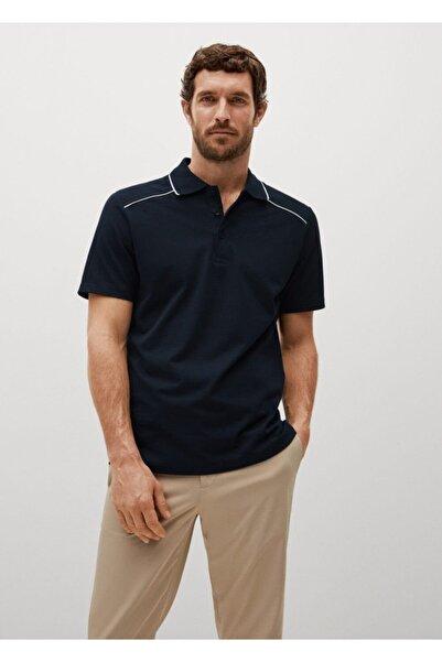 MANGO Man Erkek Kontrast Çizgili Pamuklu Polo T-shirt