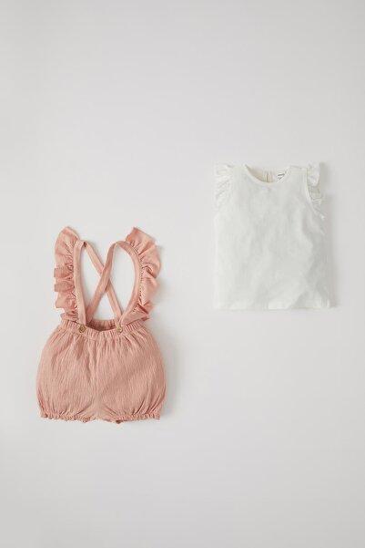 DeFacto Kız Bebek Pamuklu Kısa Kol Tişört Ve Dokulu Tulum Takım