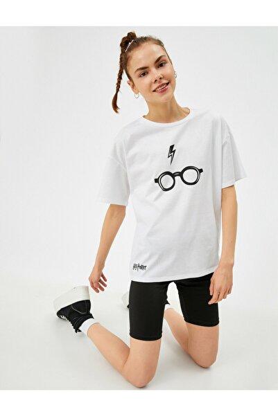 Koton Kadın Beyaz Harry Potter Lisansli Pamuklu Tisört
