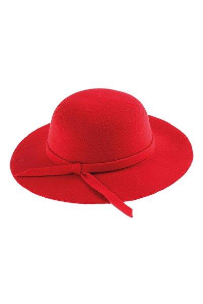 Bay Şapkacı - Kız Çocuk Geniş Kenarlı Kaşe Şapka 7168 Kırmızı