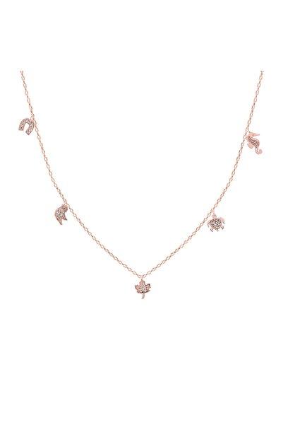 Khailo Silver Kadın Rose Taşlı Şans Kolye 45 cm