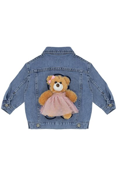 Kids Of Heart Acık Mavi Pembe Ayılı Kız Kot Ceket