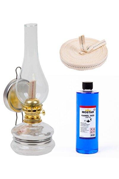 ŞEHRİMOSTARKIRK1 Klasik Gaz Lambası Şeffaf 400 ml Kandil Yakıtı 1 m Fitil Gaz Lambası Seti