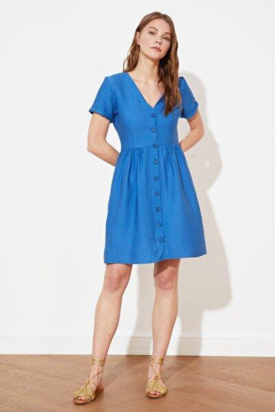 TRENDYOLMİLLA Indigo Gömlek Elbise TWOSS20EL1249