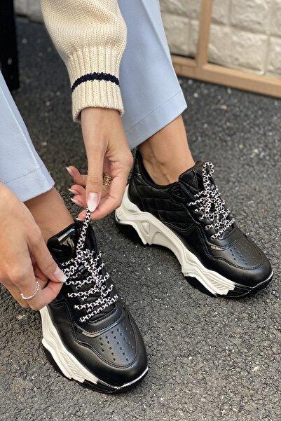 İnan Ayakkabı Kadın Siyah Delik Detaylı Sneakers