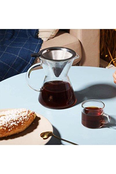 morponi Borosilikat Cam Kahve Demlik Metal Süzgeçli - 600 Ml Filtre Kahve Demliği