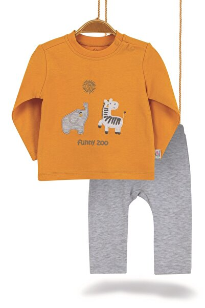 Bimini Erkek Bebek Hardal Funny Zoo Pamuklu 2li Alt Üst Takım