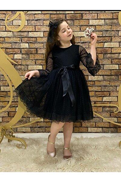 Pumpido Dantelli Tokalı Kız Çocuk Elbisesi