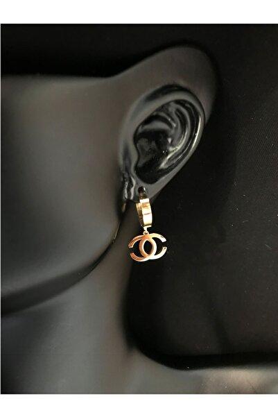 SNMBijuteri Kadın Altın Paslanmaz Çelik Chanel Model Küpe