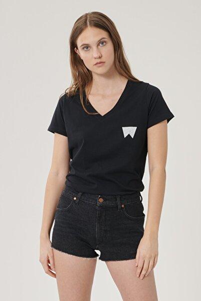 WRANGLER Kadın Siyah Kısa Kollu %100 Pamuk Logolu Sıfır Yaka Tişört