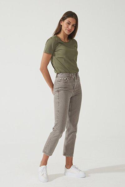 CROSS JEANS Kadın Eliza Cropped  Vizon Yüksek Bel Straight Fit Jean Pantolon C 4518-017 C 4518-017